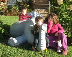 three kids and an elephant