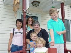 Morgan and his family with Jan on Grandpops Stoop