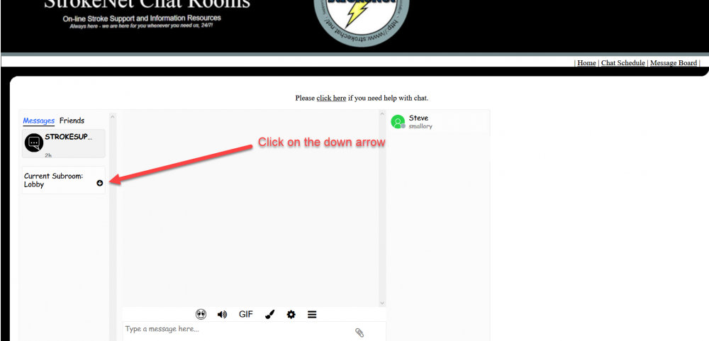how to select a chat room - click on the down arrow.png