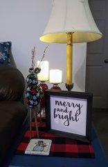 End Table Decor (DIY material reindeer and the snowman coaster was a present from my daughter she made at school in elementary)